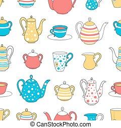 Seamless pattern tea ware.