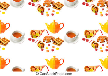 Seamless pattern. Teapot, cup of tea and pastry isolated on white background.
