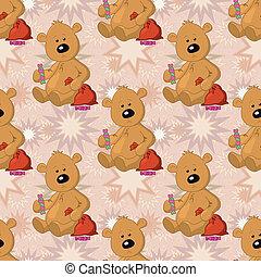 Seamless pattern, teddy bear with Christmas bag