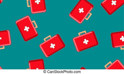 Seamless pattern texture of red medical pharmaceptic first aid kits with medicine, drugs on a green background. Vector illustration