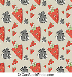 Seamless pattern the cute rabbit with carrot