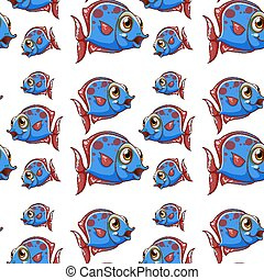Seamless pattern tile cartoon with blue fish