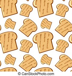 Seamless pattern tile cartoon with bread
