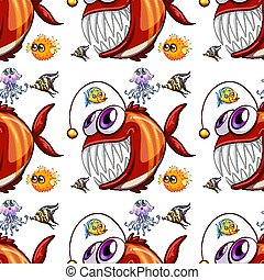 Seamless pattern tile cartoon with fish