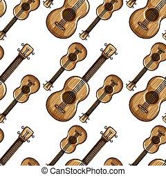 Seamless pattern tile cartoon with guitars