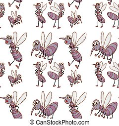 Seamless pattern tile cartoon with mosquitoes