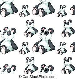 Seamless pattern tile cartoon with panda toy