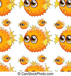 Seamless pattern tile cartoon with puffer fish