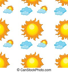 Seamless pattern tile cartoon with sun and clouds