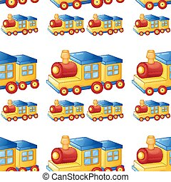 Seamless pattern tile cartoon with toy train