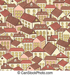 seamless pattern town houses chocolate. Vector illustration