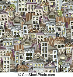 seamless pattern town houses - Abstract cartoon seamless...