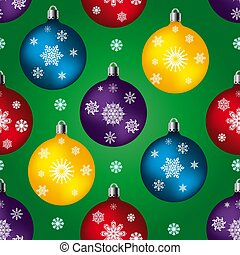 Seamless pattern, toys balls for celebratory fur-tree, on a green background and snowflakes,