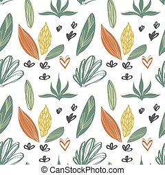 Seamless pattern. Trendy geometric shapes, fathoms, brush strokes, abstract and floral pattern elements. Vector illustration