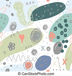 Seamless pattern. Trendy geometric shapes, fathoms, brush strokes, abstract pattern elements. Vector illustration