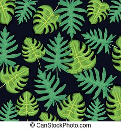 seamless pattern tropical leaves background