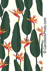 Seamless pattern tropical leaves with bird of paradise on white background