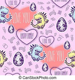 Seamless pattern two cute cartoon lovers dinosaurs. declaration of love. Cute animal for print. vector. Design for fabric, textile, wrapping paper.