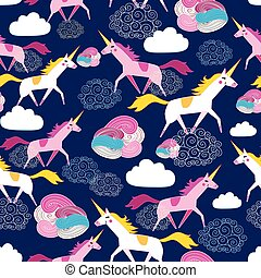 Seamless pattern Unicorns - Seamless beautiful pattern...