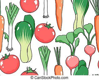 Seamless pattern, various vegetables on white background