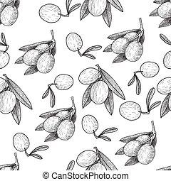 Seamless pattern Vector black ink hand drawn olive twig illustration. Vintage illustration.