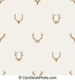 Seamless pattern vector minimalist background with deer antlers