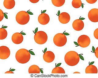 Seamless pattern vector orange fruit on white background