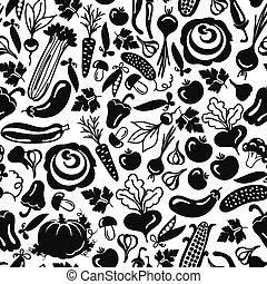seamless pattern vector vegetables on a white background - ...