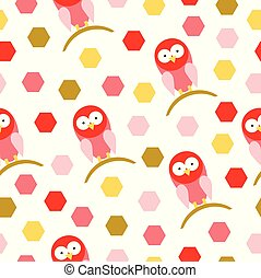 seamless pattern vector with red birds cartoon
