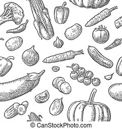 Seamless pattern vegetables. Cucumbers, Garlic, Corn, Pepper, Broccoli, Potato, Carrot,