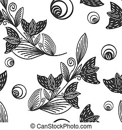 Seamless pattern, vintage flower. Sketch scratch board imitation. Black and white. Engraving vector illustration.