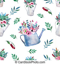 Seamless pattern. Watercolor bouquets of flowers in pot....