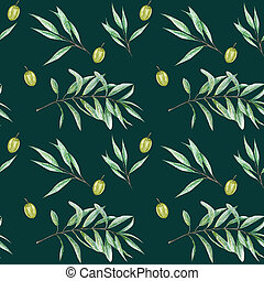 Seamless pattern Watercolor green olive tree branch leaves, Realistic olives illustration on green background, Hand painted fabric texture. Design for invitations, poster, greeting card, label concept