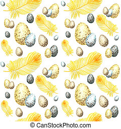Seamless pattern Watercolor hand drawn happy Easter eggs, bird Bright yellow feather. Illustration fabric texture Design concept on a white background. Chickens egg