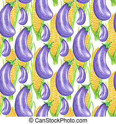 Seamless pattern Watercolor painted collection of vegetables yellow corn and purple eggplant. Hand drawn fresh vegan food on white background. Fabric autumn texture