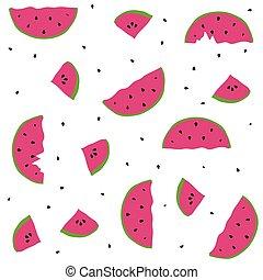 Seamless pattern watermelon - Seamless pattern with elements...