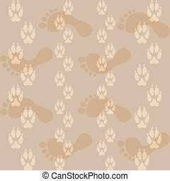 Seamless pattern ways dog paw prints and legs of a man. ...