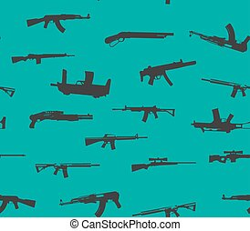 Seamless pattern. Weapons silhouettes.