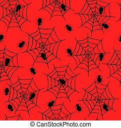 Seamless pattern web with spiders on red background. Vector background Wallpaper Halloween concept.