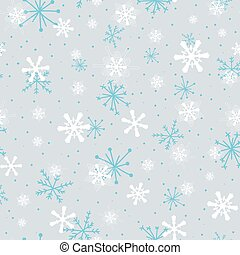 seamless pattern white, blue snowflakes with dots on blue background, Winter background