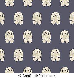 Seamless pattern white bunny soft toy
