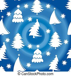 Seamless pattern, white christmas tree, on a blue background with snowflakes,