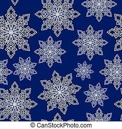 seamless pattern white snowflakes on blue Vector