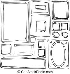 seamless, pattern., wiederholen, beschaffenheit, mit, hand, gezeichnet, rahmen