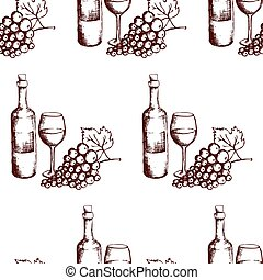 Seamless pattern. Wine bottle, glass and grapes