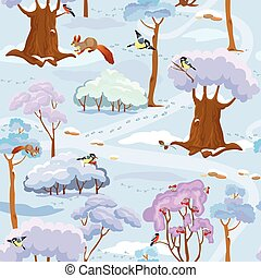 Seamless pattern - Winter Forest Landscape with trees, birds and