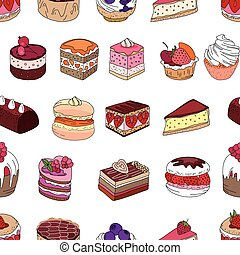Seamless pattern wit different kinds of dessert. Endless texture for your design, announcements, postcards, posters, restaurant menu.