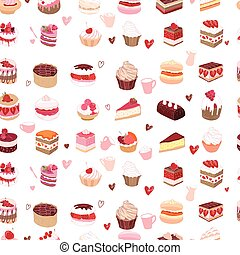 Seamless pattern wit different kinds of dessert.