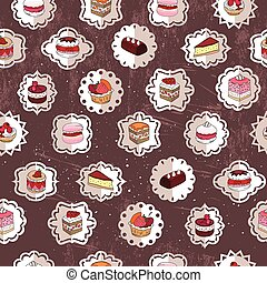Seamless pattern wit different kinds of dessert. Vintage style.  Endless texture for your design, announcements, postcards, posters, restaurant menu.