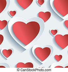 Seamless pattern with 3d hearts